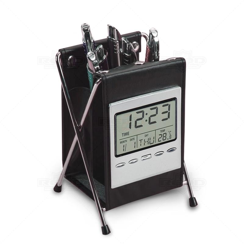 2f2c23b17fe Porta Caneta para Brinde com Relógio Digital - PC05 - Porta Canetas ...