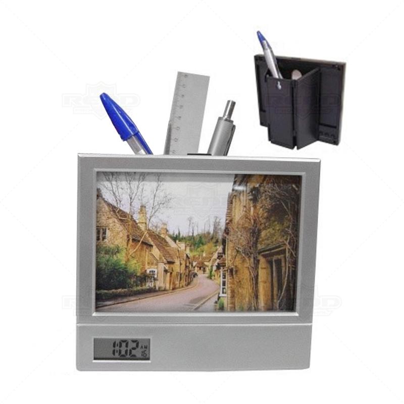 14e46abc5c2 Porta Retrato com Relógio Digital e Porta Caneta - PR09 - Porta ...